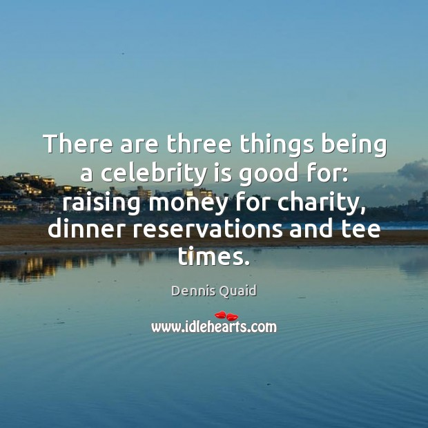 There are three things being a celebrity is good for: raising money Image