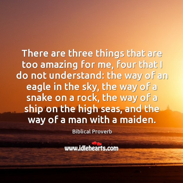 There are three things that are too amazing for me, four that I do not understand Biblical Proverbs Image