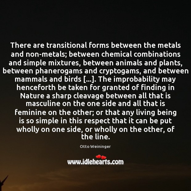 There are transitional forms between the metals and non-metals; between chemical combinations Otto Weininger Picture Quote