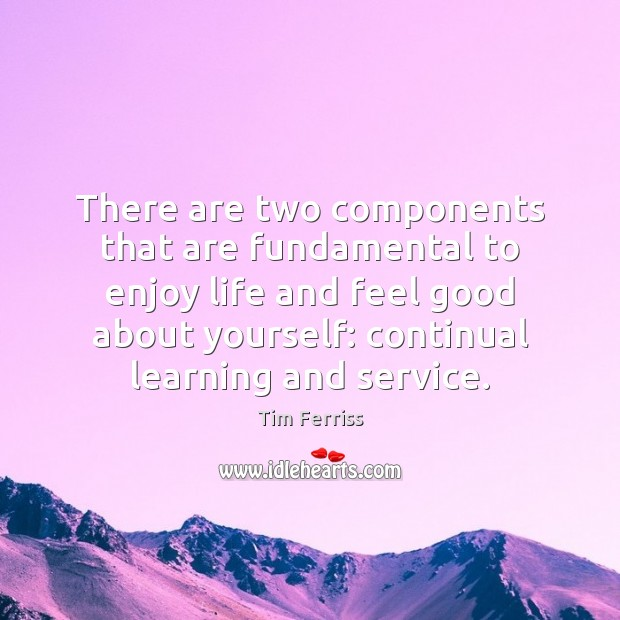 There are two components that are fundamental to enjoy life and feel Tim Ferriss Picture Quote