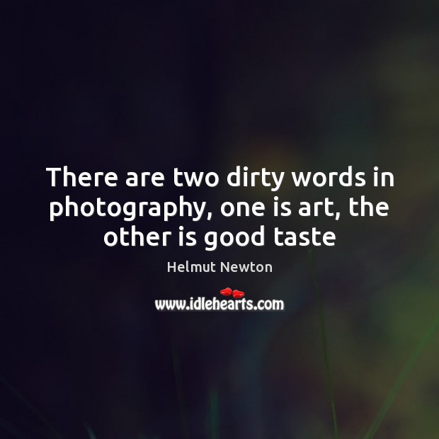 Helmut Newton Picture Quote image saying: There are two dirty words in photography, one is art, the other is good taste