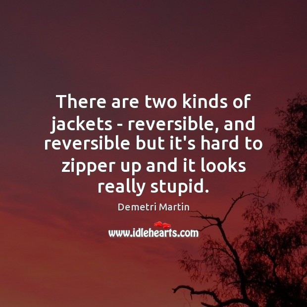 There are two kinds of jackets – reversible, and reversible but it's Demetri Martin Picture Quote