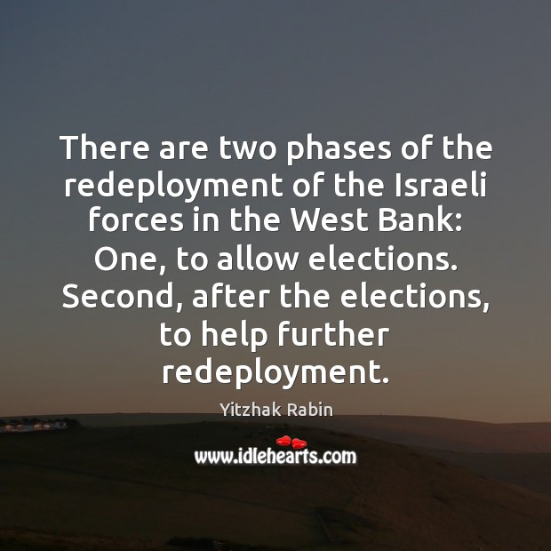 There are two phases of the redeployment of the Israeli forces in Yitzhak Rabin Picture Quote