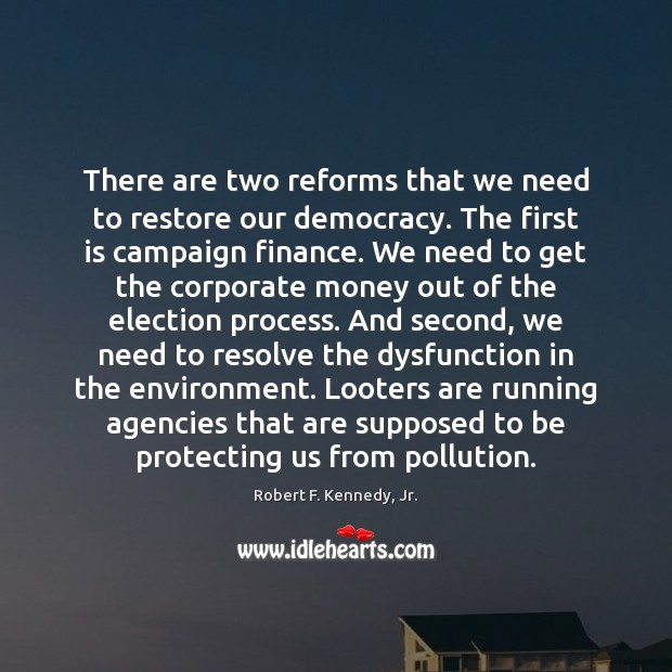 There are two reforms that we need to restore our democracy. The Environment Quotes Image