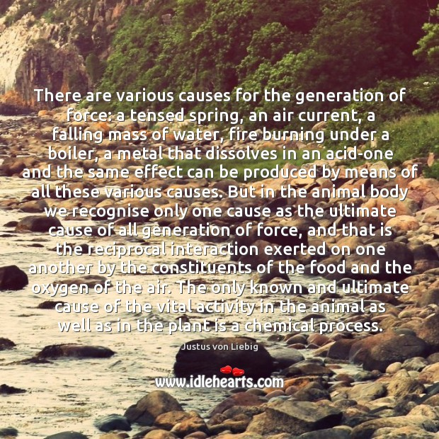 There are various causes for the generation of force: a tensed spring, Image
