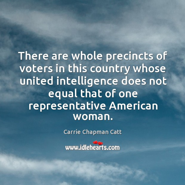 There are whole precincts of voters in this country whose united intelligence does not Image