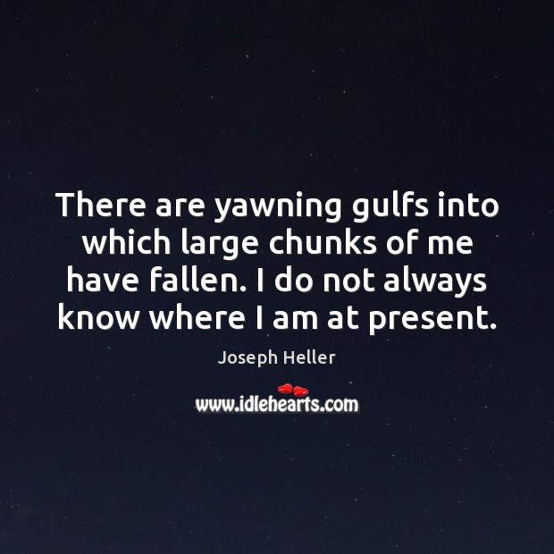 There are yawning gulfs into which large chunks of me have fallen. Joseph Heller Picture Quote