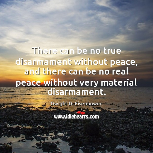 Image, There can be no true disarmament without peace, and there can be