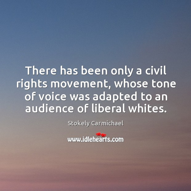 There has been only a civil rights movement, whose tone of voice was adapted to an audience of liberal whites. Stokely Carmichael Picture Quote