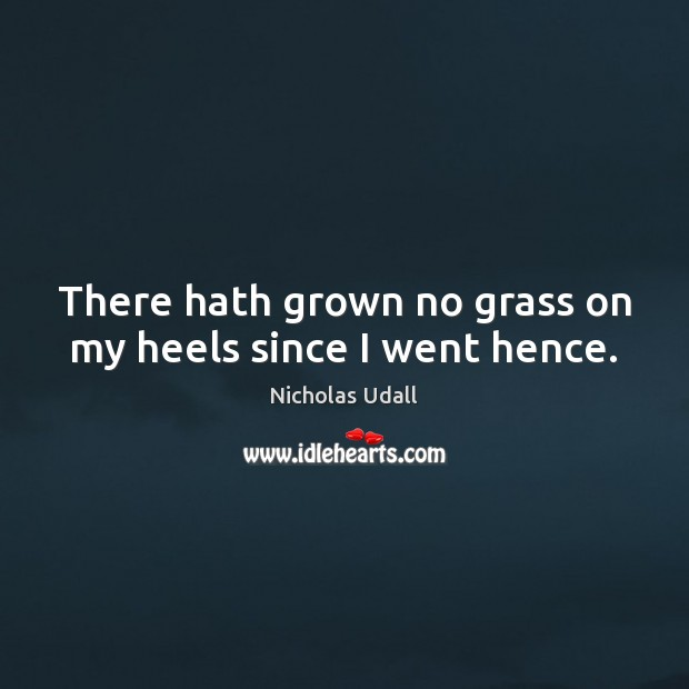 There hath grown no grass on my heels since I went hence. Image