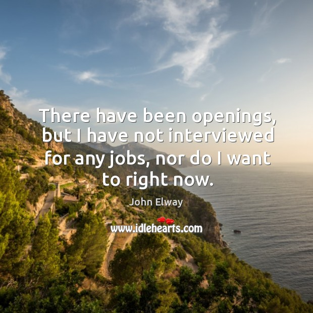 There have been openings, but I have not interviewed for any jobs, nor do I want to right now. Image