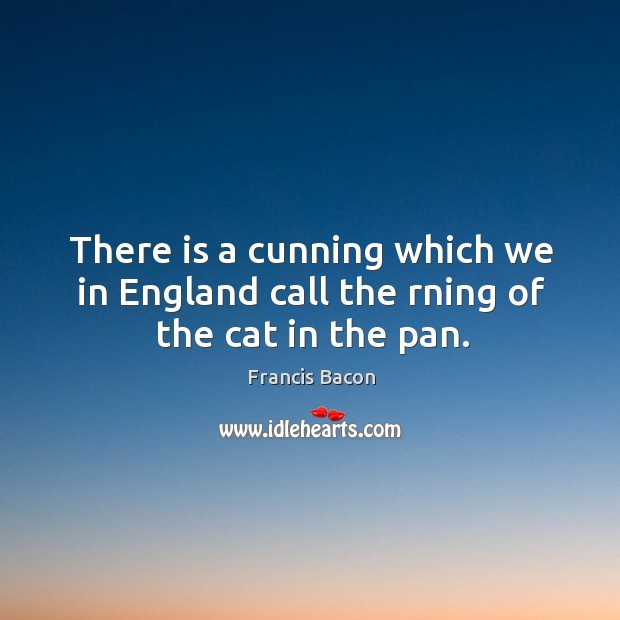 There is a cunning which we in England call the rning of the cat in the pan. Image