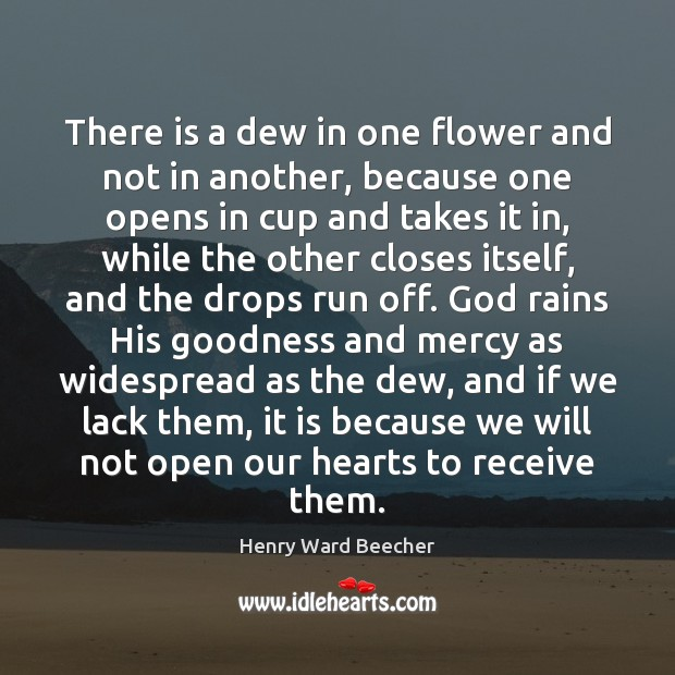 Image, There is a dew in one flower and not in another, because