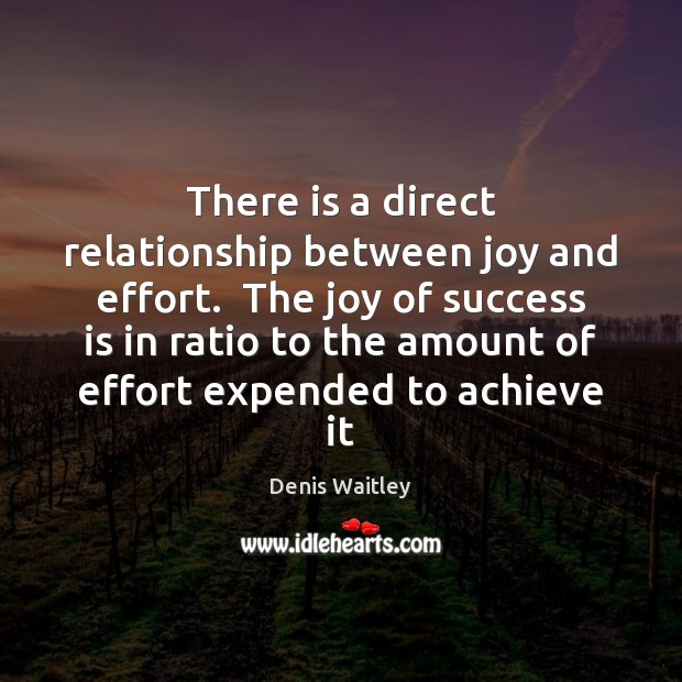 There is a direct relationship between joy and effort.  The joy of Denis Waitley Picture Quote
