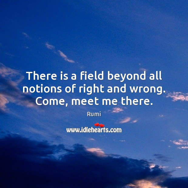 There is a field beyond all notions of right and wrong. Come, meet me there. Image