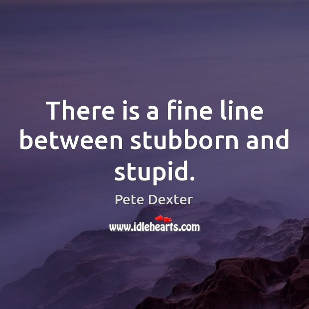 There is a fine line between stubborn and stupid. Image