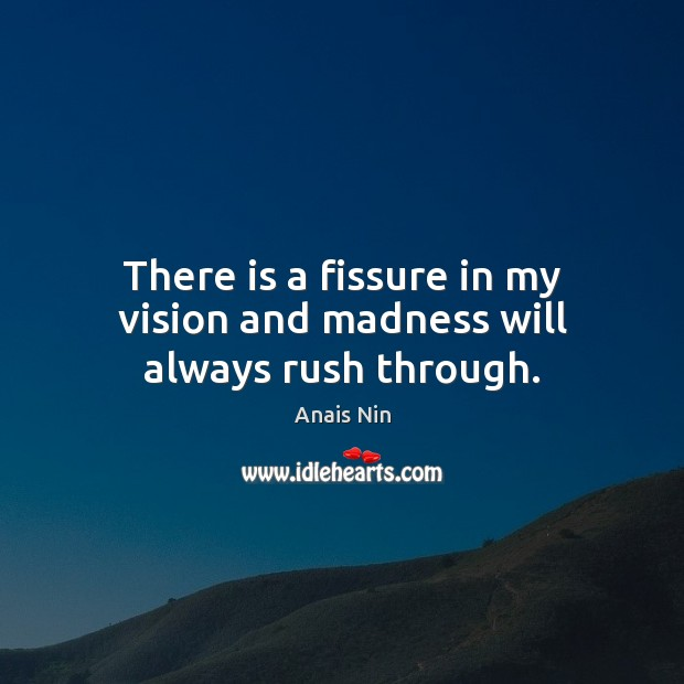 There is a fissure in my vision and madness will always rush through. Anais Nin Picture Quote