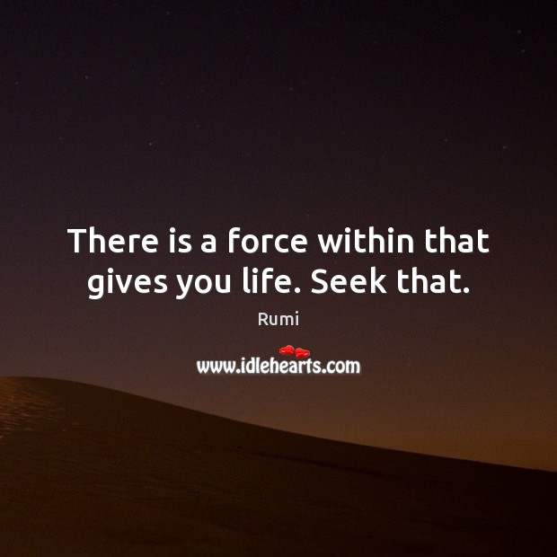 There is a force within that gives you life. Seek that. Image