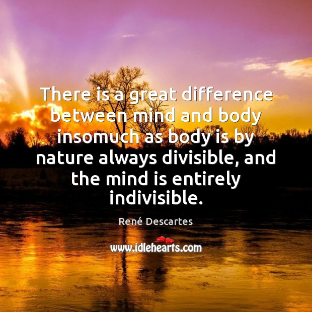 There is a great difference between mind and body insomuch as body René Descartes Picture Quote