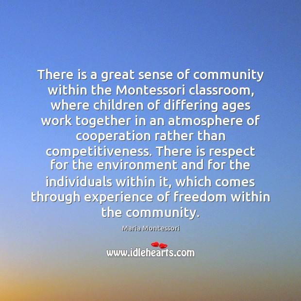 Image, There is a great sense of community within the Montessori classroom, where
