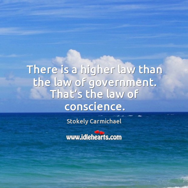 There is a higher law than the law of government. That's the law of conscience. Stokely Carmichael Picture Quote