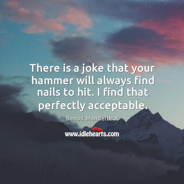 There is a joke that your hammer will always find nails to hit. I find that perfectly acceptable. Benoit Mandelbrot Picture Quote