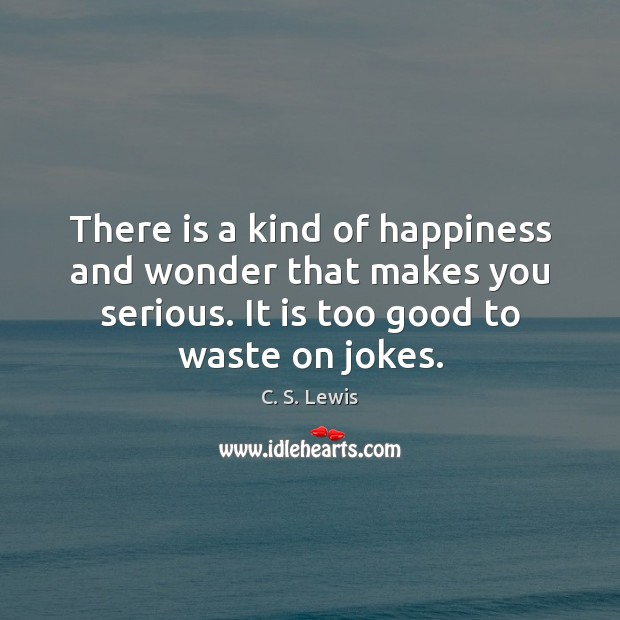 Image, There is a kind of happiness and wonder that makes you serious.