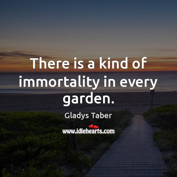There is a kind of immortality in every garden. Image