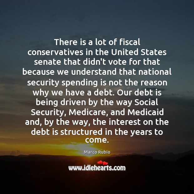 There is a lot of fiscal conservatives in the United States senate Debt Quotes Image