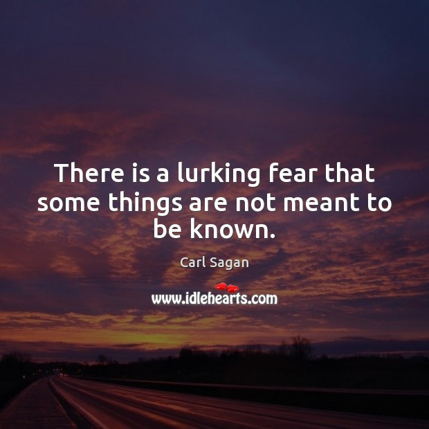 There is a lurking fear that some things are not meant to be known. Image