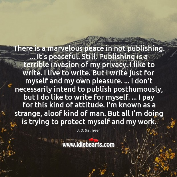 There is a marvelous peace in not publishing. … It's peaceful. Still. Publishing Image