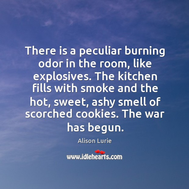 There is a peculiar burning odor in the room, like explosives. Image