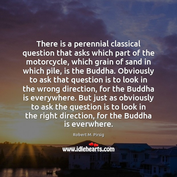 There is a perennial classical question that asks which part of the Robert M. Pirsig Picture Quote