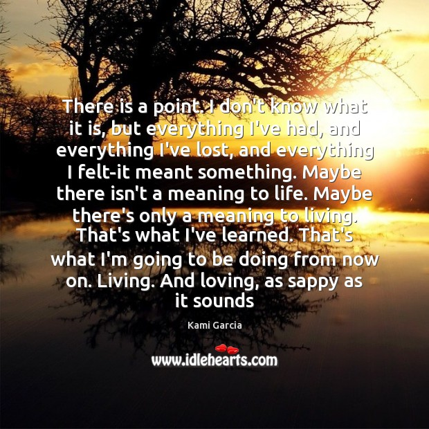 There is a point. I don't know what it is, but everything Kami Garcia Picture Quote