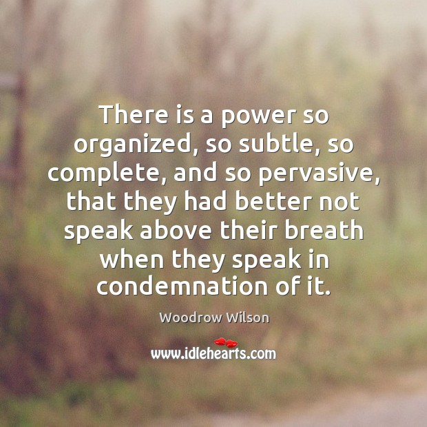 There is a power so organized, so subtle, so complete, and so Woodrow Wilson Picture Quote
