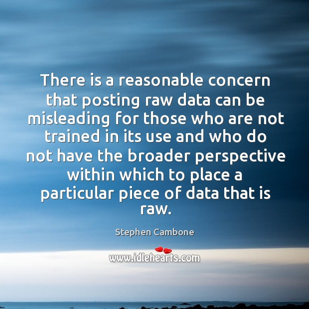 There is a reasonable concern that posting raw data can be misleading for those who are Image