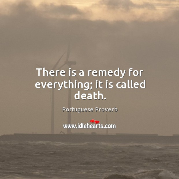 There is a remedy for everything; it is called death. Image
