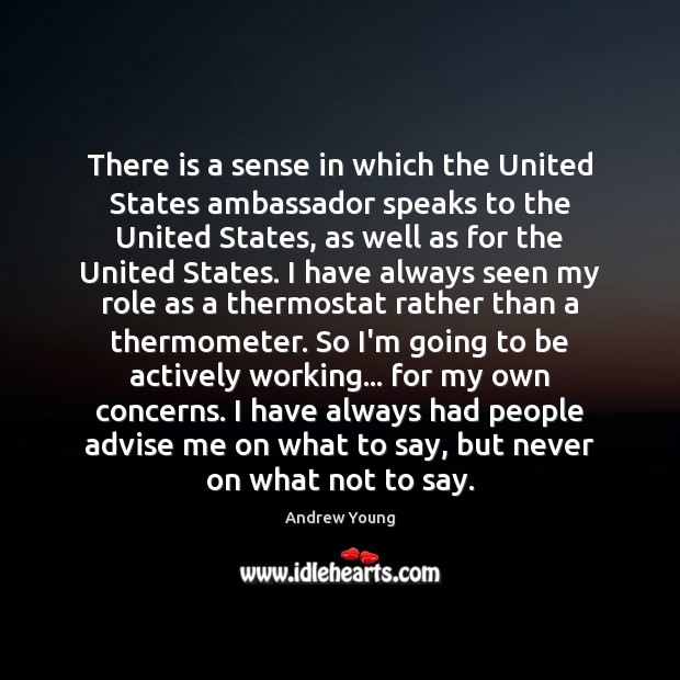 Image, There is a sense in which the United States ambassador speaks to