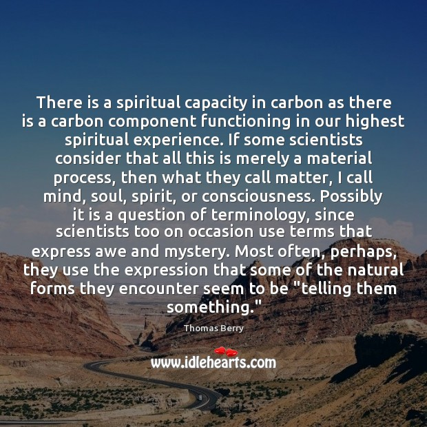 There is a spiritual capacity in carbon as there is a carbon Thomas Berry Picture Quote