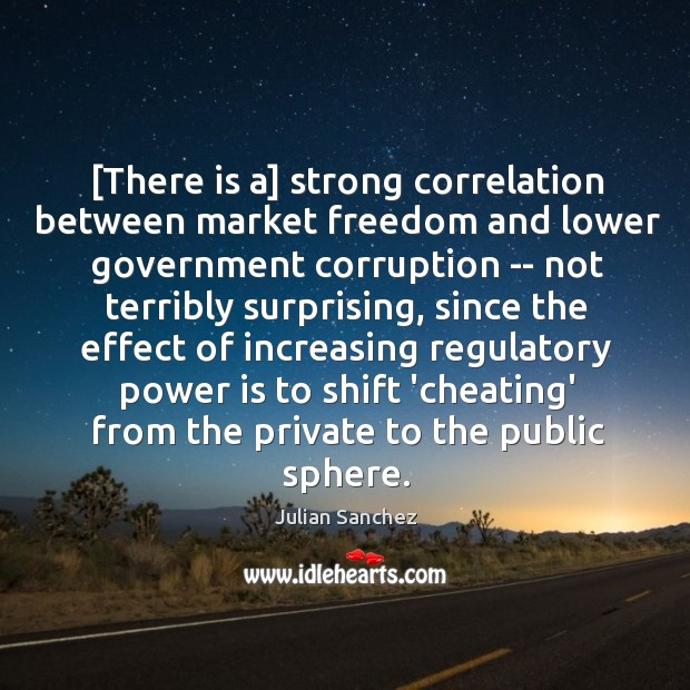 [There is a] strong correlation between market freedom and lower government corruption Image