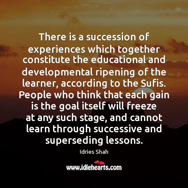 There is a succession of experiences which together constitute the educational and Image