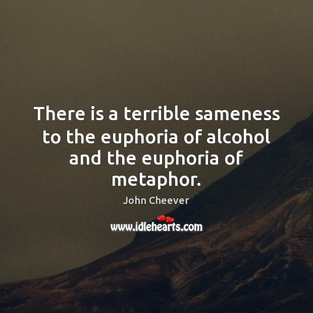 There is a terrible sameness to the euphoria of alcohol and the euphoria of metaphor. John Cheever Picture Quote