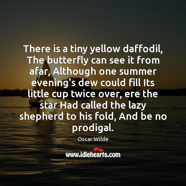 Oscar Wilde Picture Quote image saying: There is a tiny yellow daffodil, The butterfly can see it from