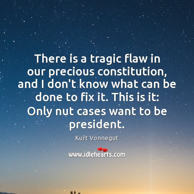 There is a tragic flaw in our precious constitution, and I don't Image