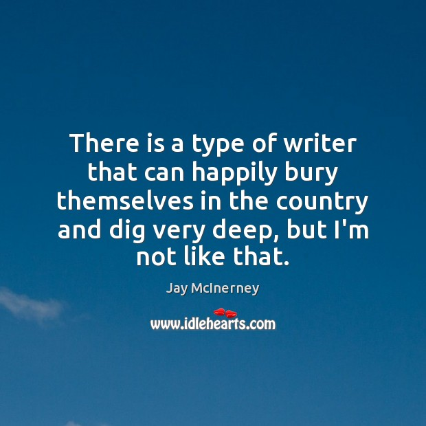 There is a type of writer that can happily bury themselves in Jay McInerney Picture Quote