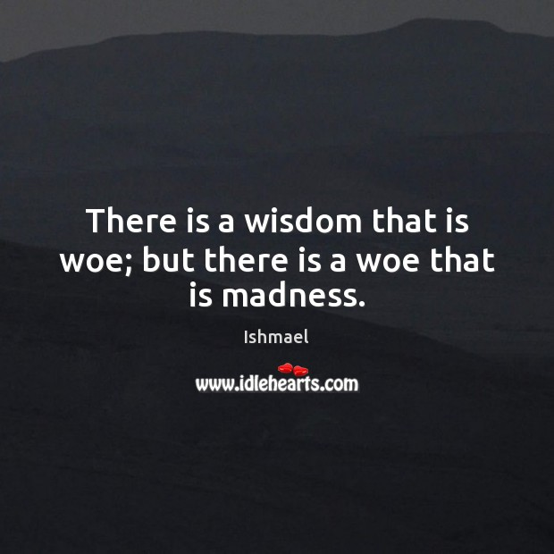 There is a wisdom that is woe; but there is a woe that is madness. Ishmael Picture Quote