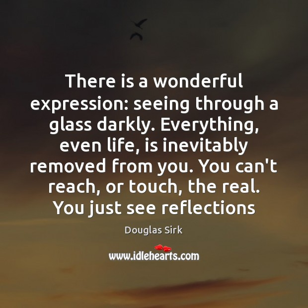 There is a wonderful expression: seeing through a glass darkly. Everything, even Douglas Sirk Picture Quote