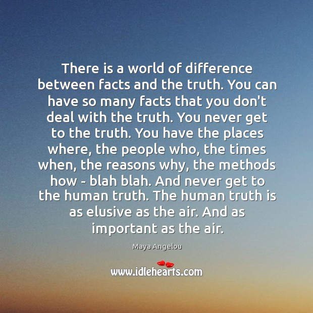 Image, There is a world of difference between facts and the truth. You