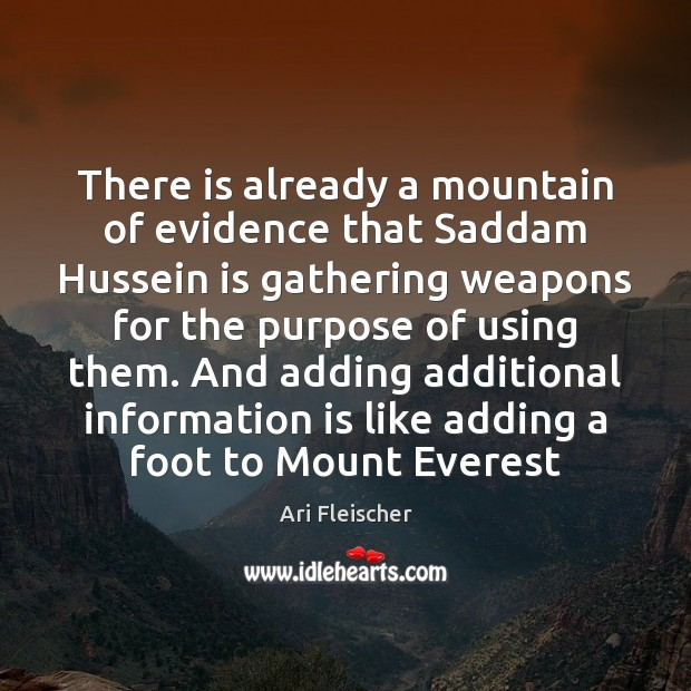 Image, There is already a mountain of evidence that Saddam Hussein is gathering