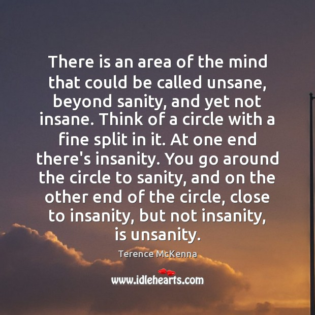 There is an area of the mind that could be called unsane, Terence McKenna Picture Quote